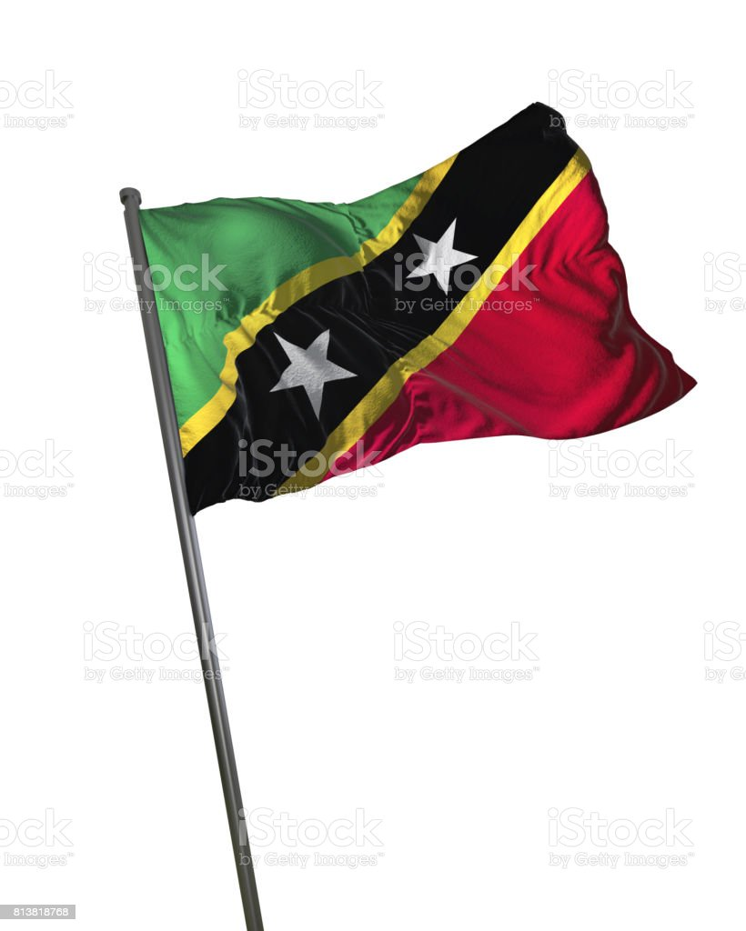 Saint Kitts and Nevis Flag Waving Isolated on White Background Portrait stock photo