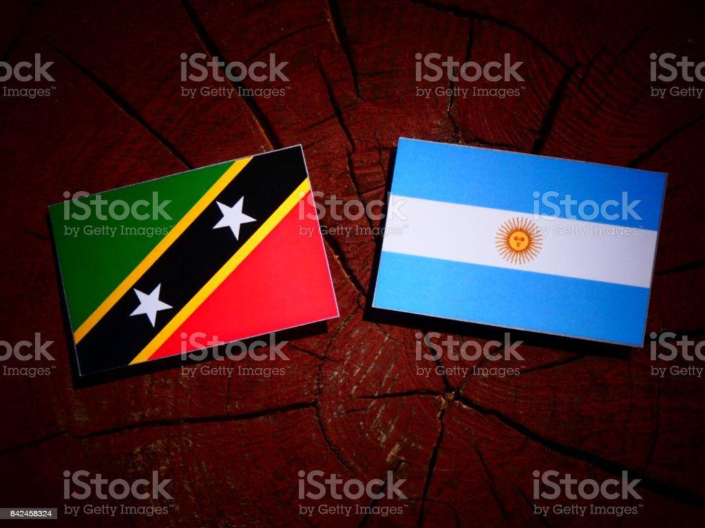Saint Kitts and Nevis flag with Argentinian flag on a tree stump isolated stock photo