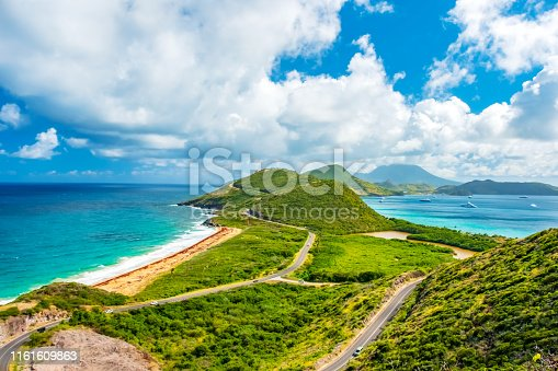 A Panoramic view, Saint Kitts with Nevis Island in the background.