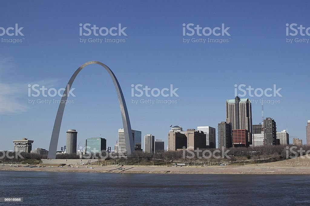 Saint Louis Arch with skyline royalty-free stock photo