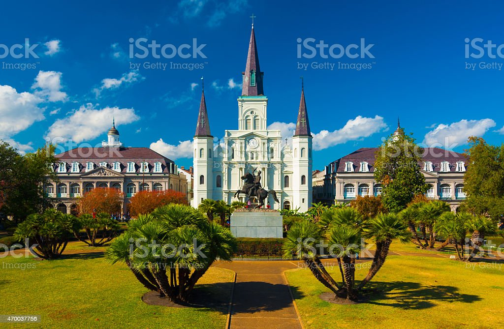 Saint Louis Cathedral and Jackson Square, elevated view, New Orleans stock photo