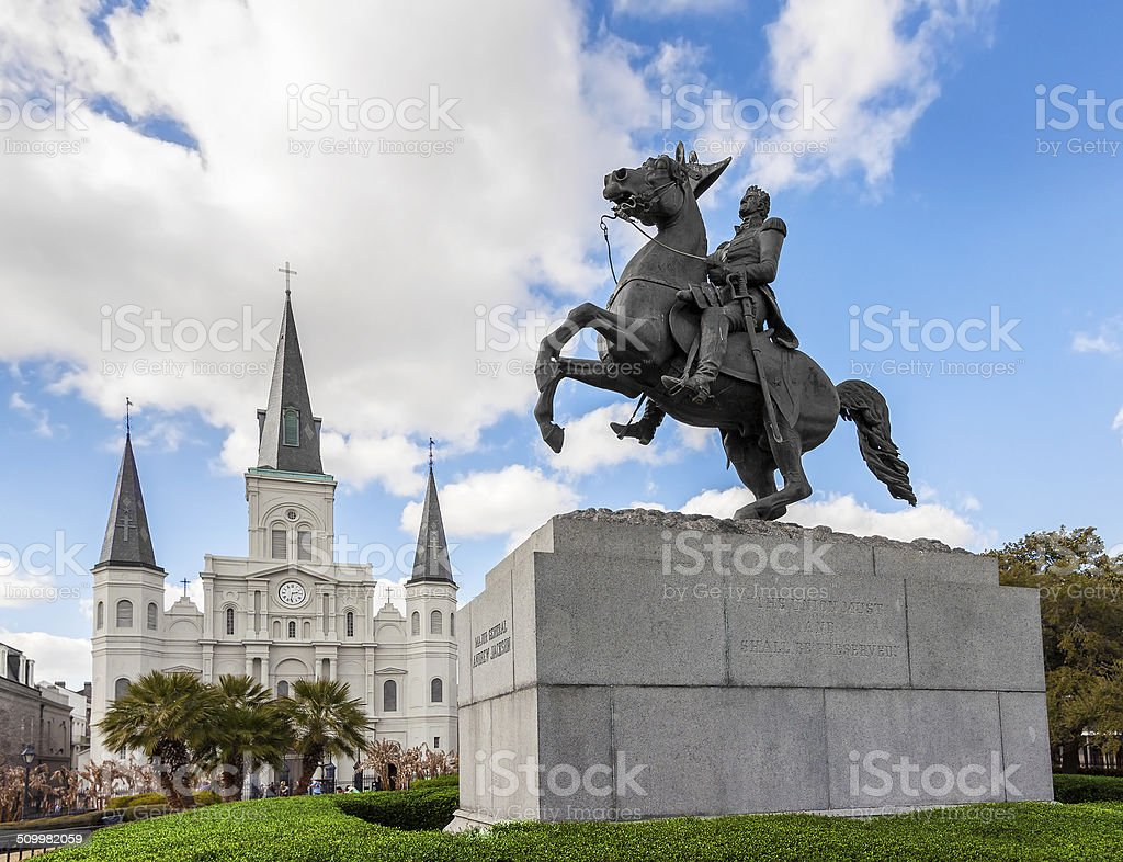 Saint Louis Cathedral and statue of Andrew Jackson. stock photo