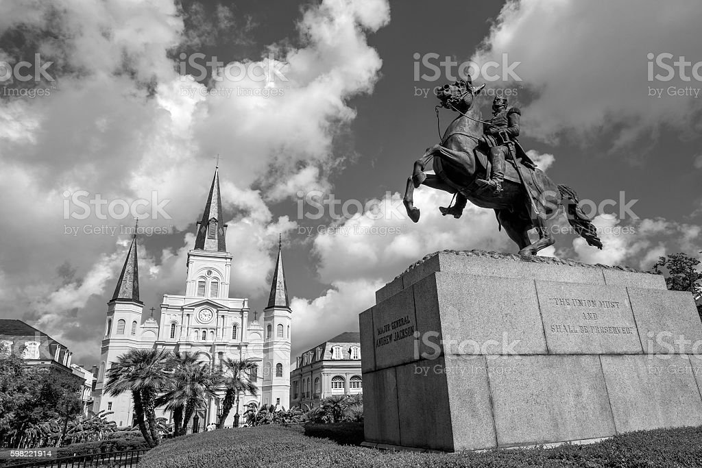 Saint Louis Cathedral and statue of Andrew Jackson foto royalty-free