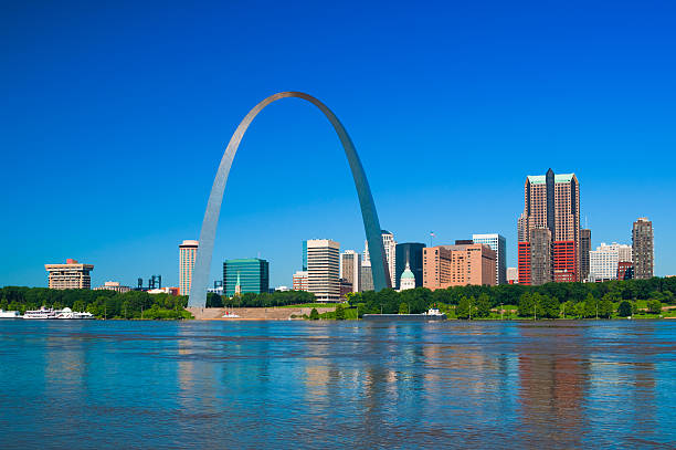 Saint Louis skyline with Arch, river, and blue sky stock photo