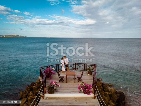 1055009962 istock photo Saint Lucia caribbean, couple on vacation at the tropical Island of St Lucia , men and woman on advenure trip 1214917813