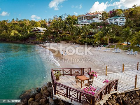 1055009962 istock photo Saint Lucia caribbean, couple on vacation at the tropical Island of St Lucia , men and woman on advenure trip 1214918884