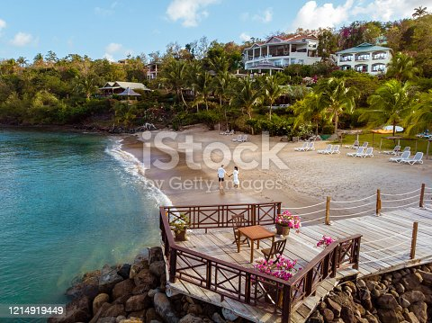 1055009962 istock photo Saint Lucia caribbean, couple on vacation at the tropical Island of St Lucia , men and woman on advenure trip 1214919449