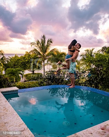 1055009962 istock photo Saint Lucia caribbean, couple on vacation at the tropical Island of St Lucia , men and woman on advenure trip 1214923407