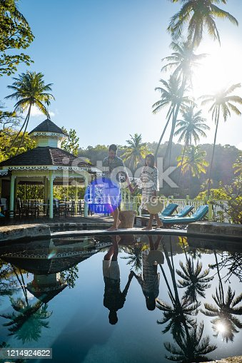 1055009962 istock photo Saint Lucia caribbean, couple on vacation at the tropical Island of St Lucia , men and woman on advenure trip 1214924622