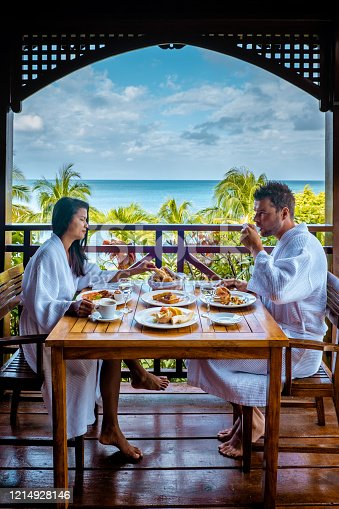 1055009962 istock photo Saint Lucia caribbean, couple on vacation at the tropical Island of St Lucia , men and woman on advenure trip 1214928146