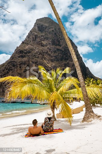 1055009962 istock photo Saint Lucia caribbean, couple on vacation at the tropical Island of St Lucia , men and woman on advenure trip 1214928467