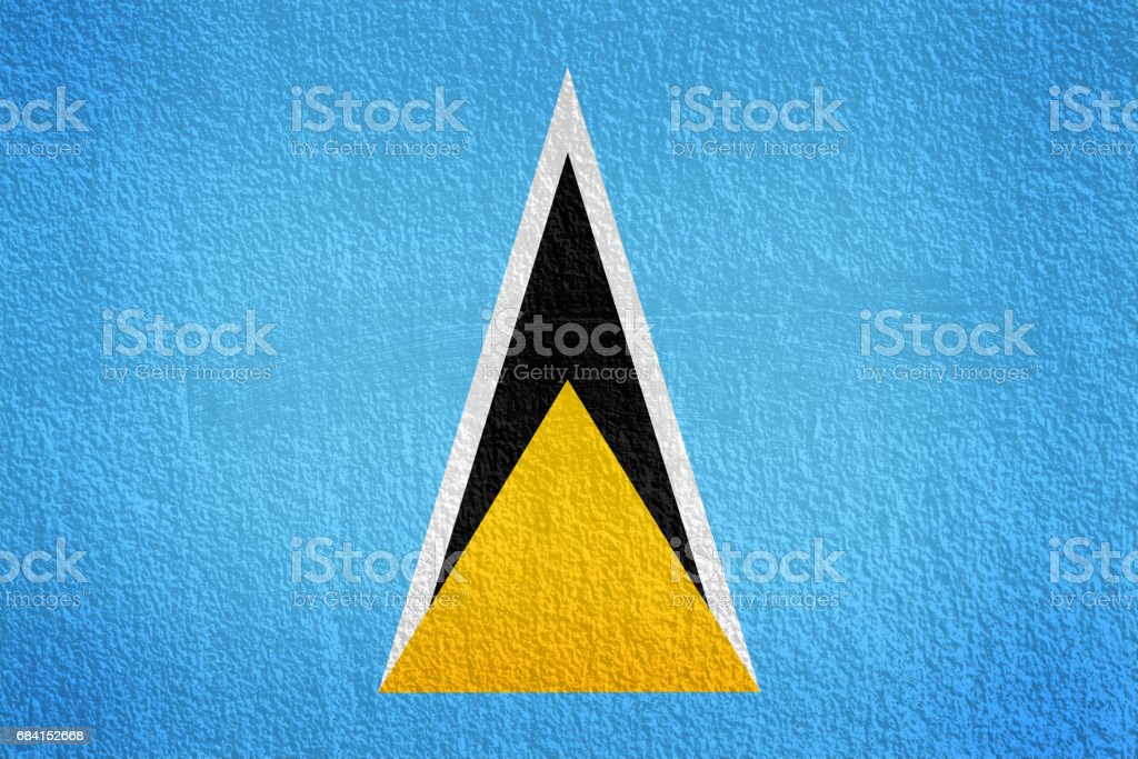 Saint Lucia Flag painted on grunge wall zbiór zdjęć royalty-free