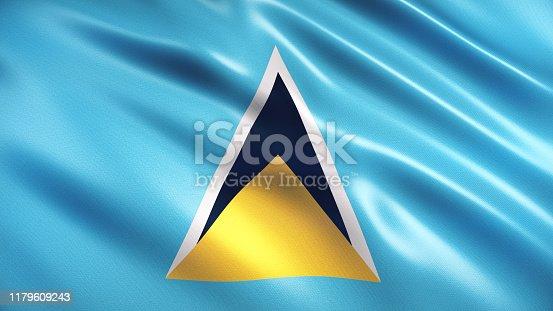 3d render Saint Lucia Flag (Close-up)