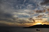 Sunsets in the Caribbean are magical, especially over the mountains of Saint Maarten.