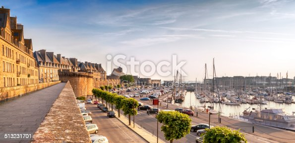 Saint Malo, France, at sunrise.  Historic walls and harbor.
