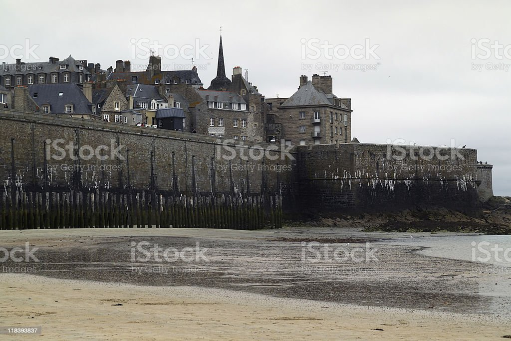 Saint Malo' from the beach stock photo