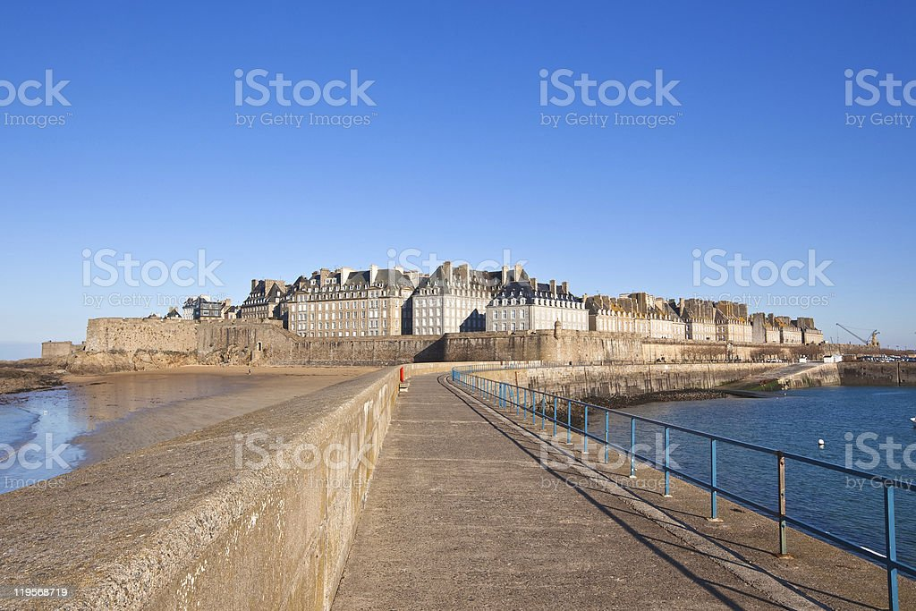 Saint Malo from the wharf stock photo