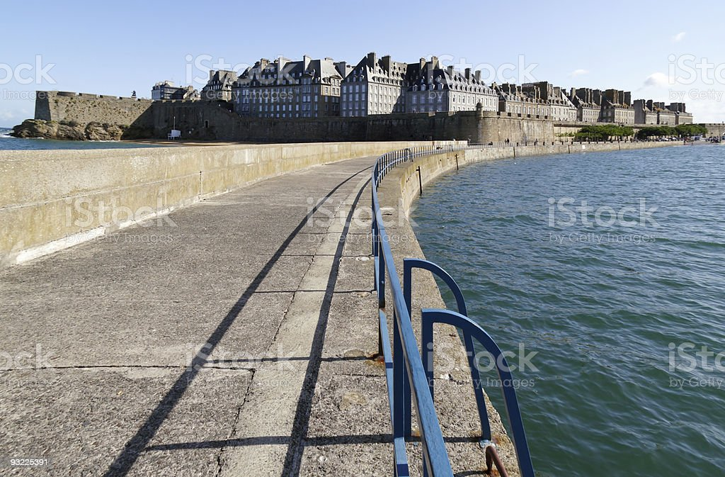 Saint Malo (Brittany - France) from the wharf stock photo