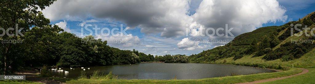 Saint Margaret's Loch Panoramic lake scene stock photo
