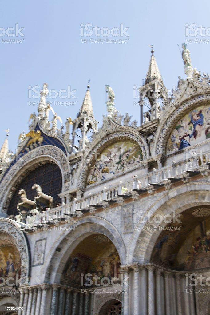 Saint Marks Basilica, Cathedral, Church Statues Mosaics Details royalty-free stock photo