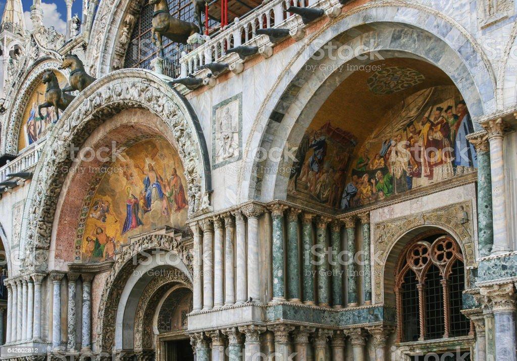 Saint Mark's Basilica Close-up from Piazza San Marco, Venice, Italy. stock photo
