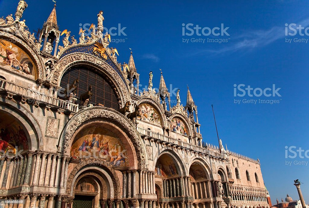 Saint Mark's Basilica Details Statues Mosaics Doge's Palace Veni stock photo