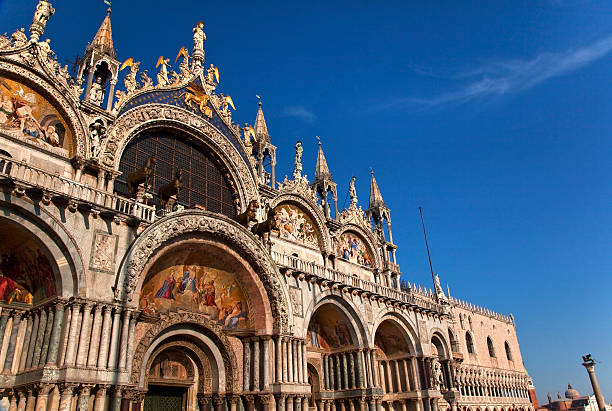 Saint Mark's Basilica Details Statues Mosaics Doge's Palace Veni Saint Marks Basilica, Cathedral, Church Statues Mosaics Details Doge's Palace Venice Italy basilica stock pictures, royalty-free photos & images