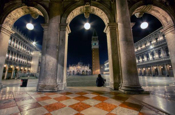 Saint Mark's square with campanile and basilica in Venice stock photo