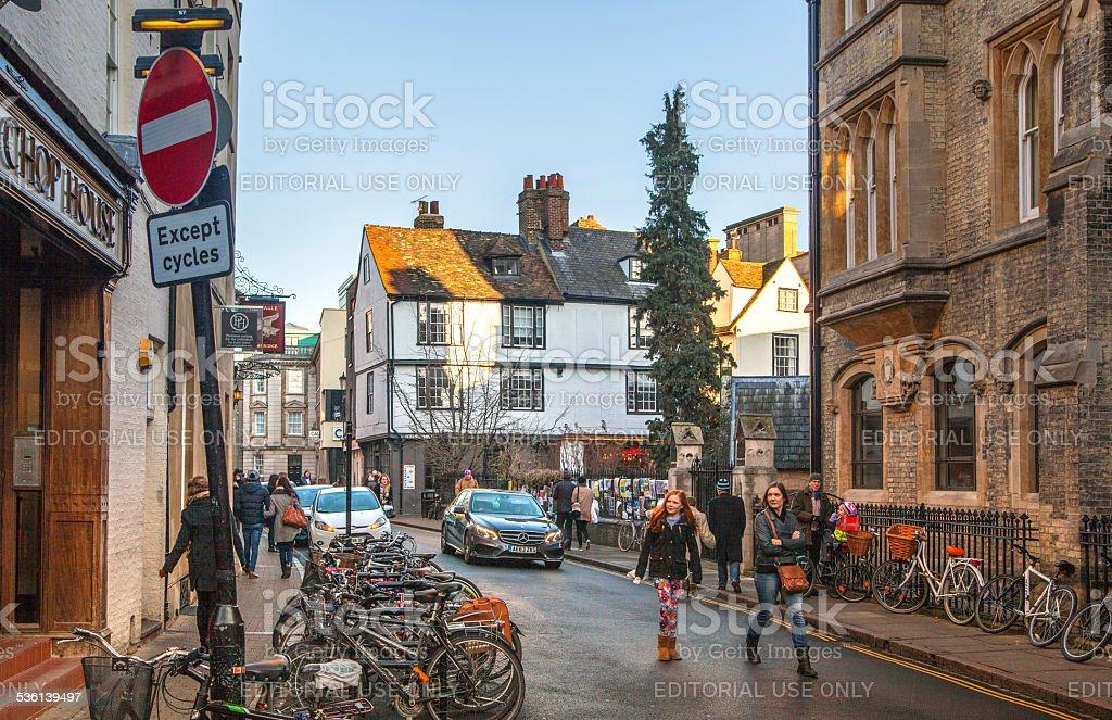 Saint Marry passage with student's bikes, Cambridge stock photo