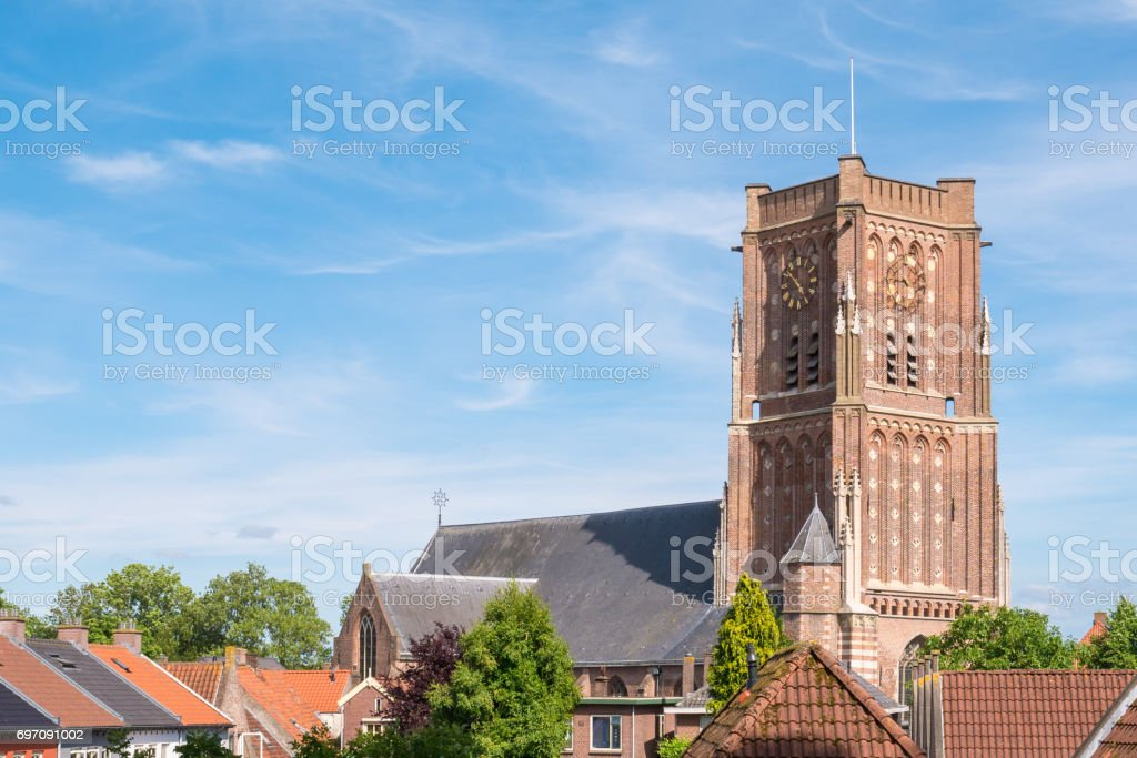 Saint Martin's Church in fortified town of Woudrichem, Netherlands stock photo