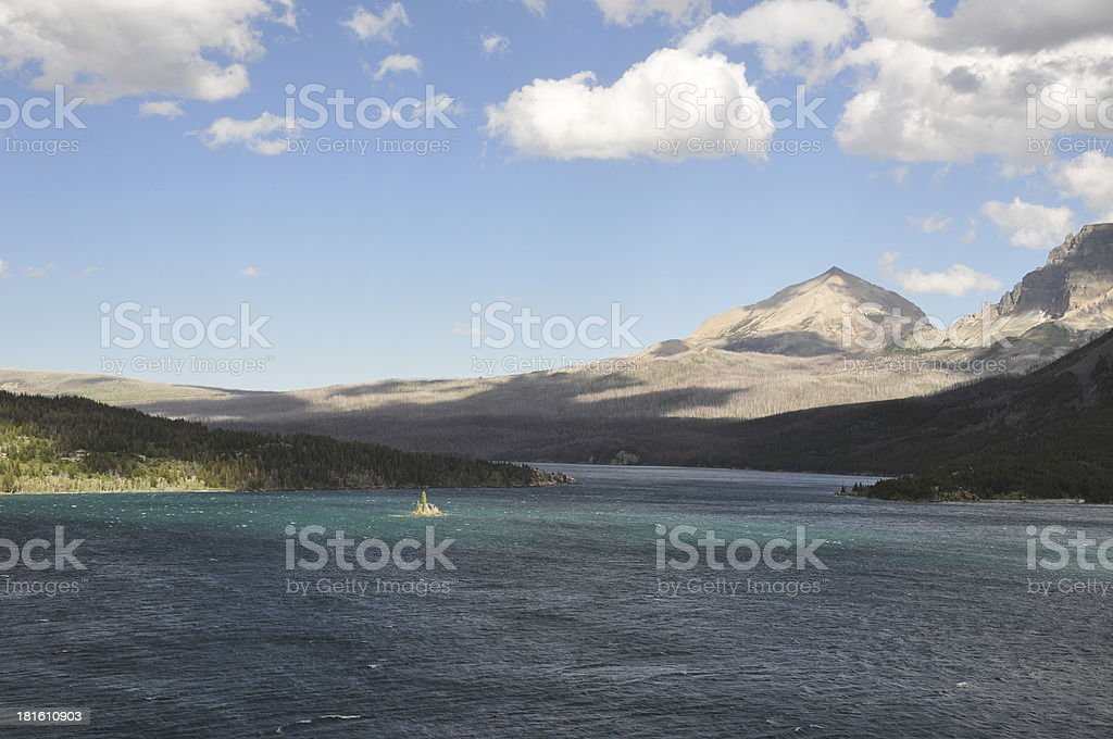 Saint Mary Lake and Goose Island, Glacier National Park royalty-free stock photo