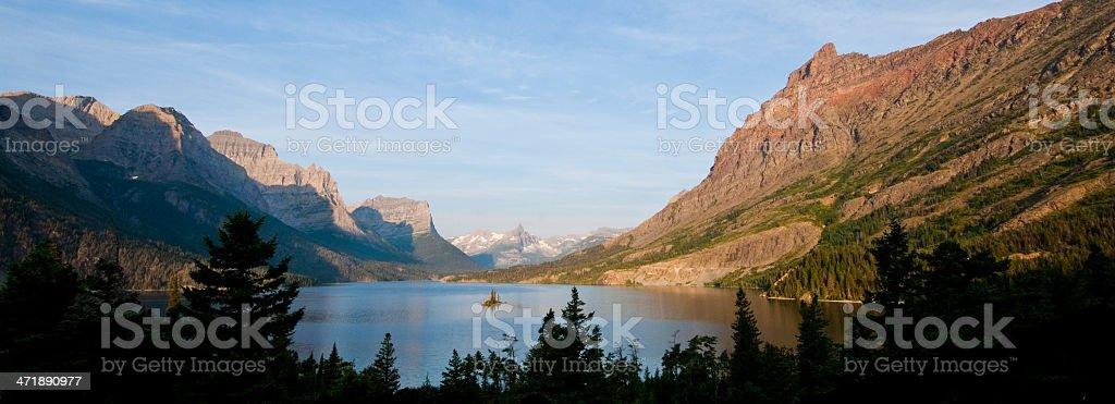 Saint Mary Lake and Wild Goose Island Panorama stock photo