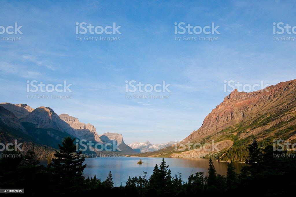 Saint Mary Lake and Wild Goose Island stock photo