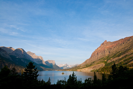 Saint Mary Lake And Wild Goose Island Stock Photo - Download Image Now