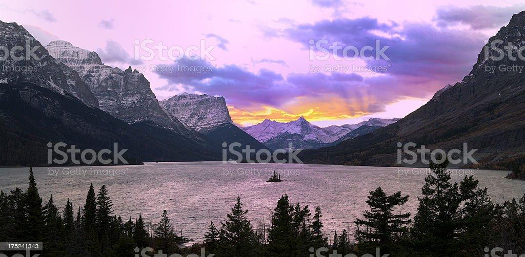 Saint Mary Lake, Glacier National Park stock photo