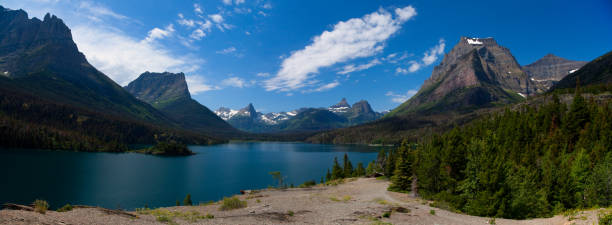 saint mary lake in glacier national park, montana - st. mary lake stock pictures, royalty-free photos & images