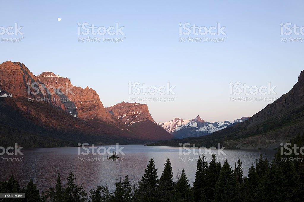 Saint Mary Lake Snowy Mountains Glacier National Park stock photo