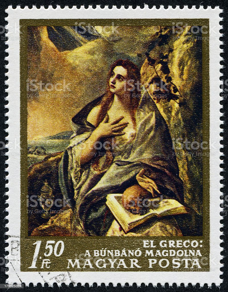 Saint Mary Magdalene By El Greco Stamp stock photo