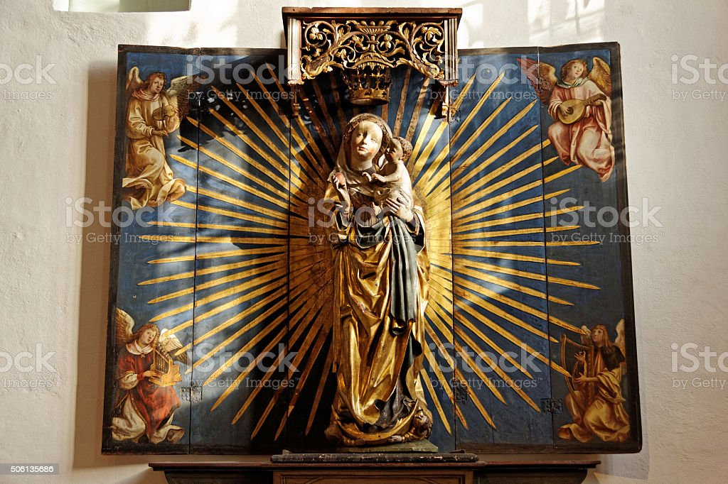 Saint Mary with child  - Altar stock photo