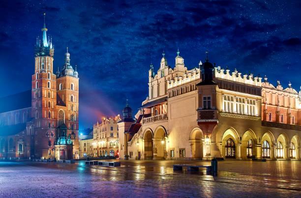 Saint Mary's Basilica in Krakow Poland stock photo