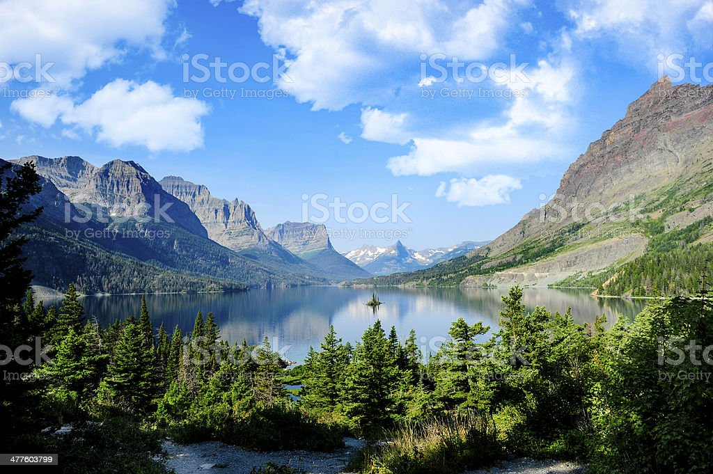 Saint Marys Lake at Glacier National Park stock photo