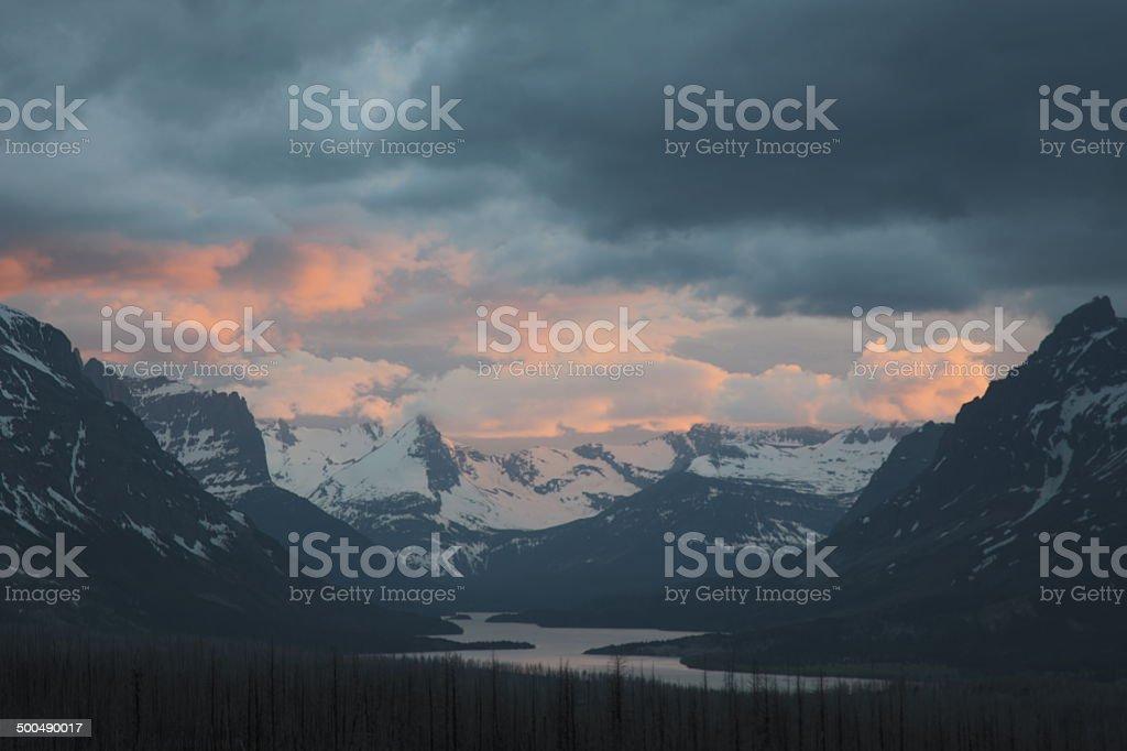 Saint Mary's Lake Sunset stock photo