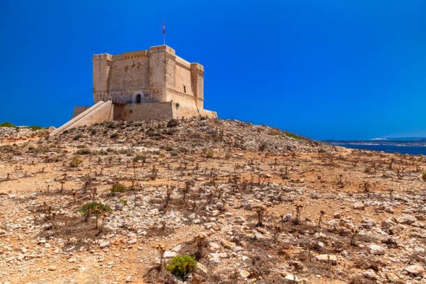 Saint Mary's tower at Comino, Malta stock photo