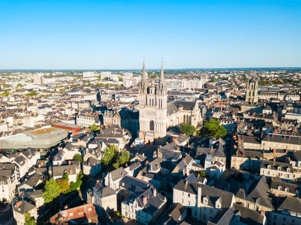 Saint Maurice Cathedral in Angers stock photo