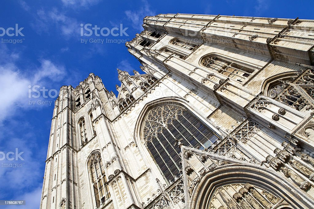 Saint Michael and St. Gudula Cathedral in Brussels stock photo