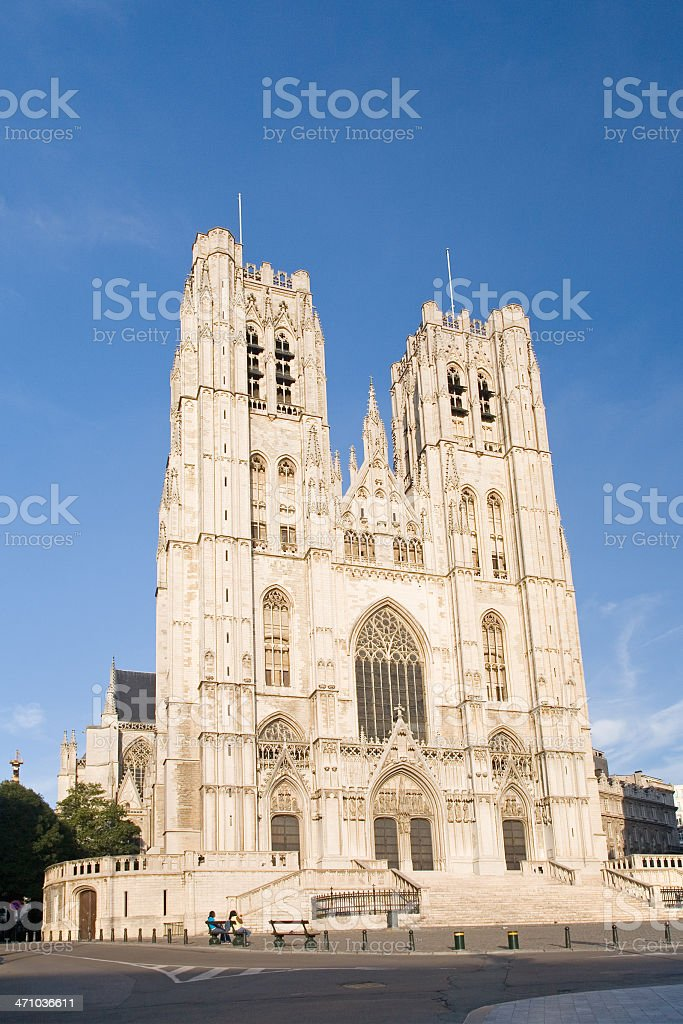 Saint Michael and St Gudula cathedral in Brussels royalty-free stock photo