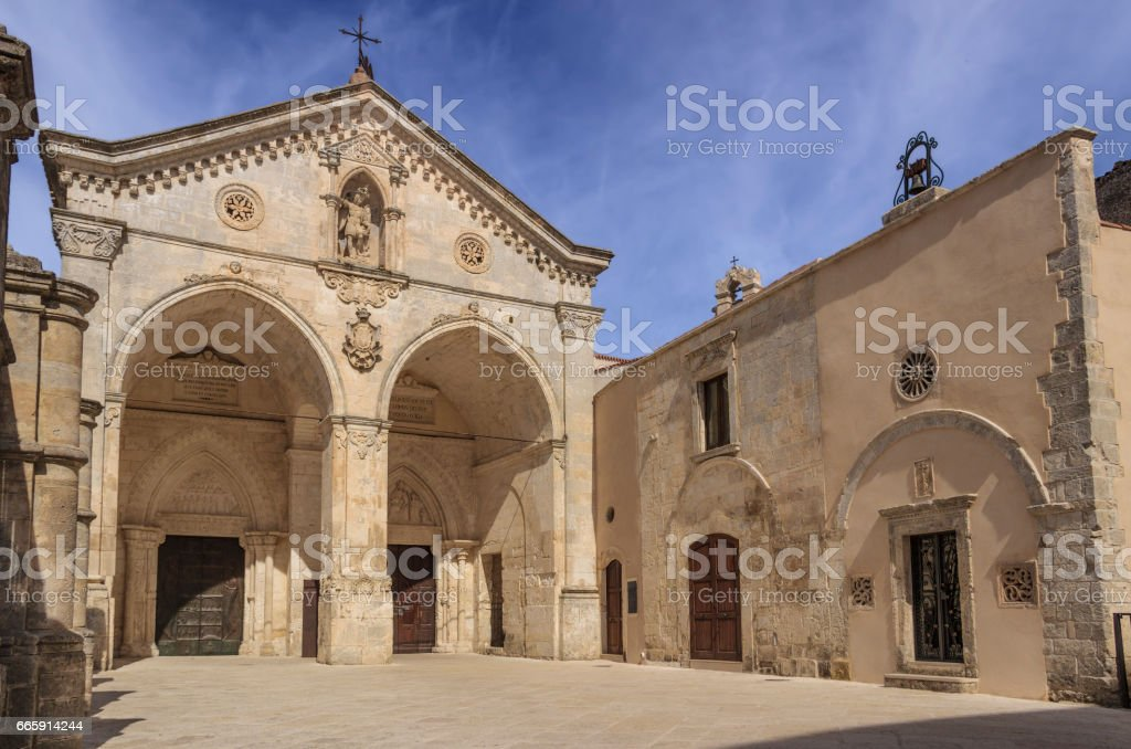 Saint Michael Archangel Sanctuary at Monte Sant'Angelo, Italy. stock photo