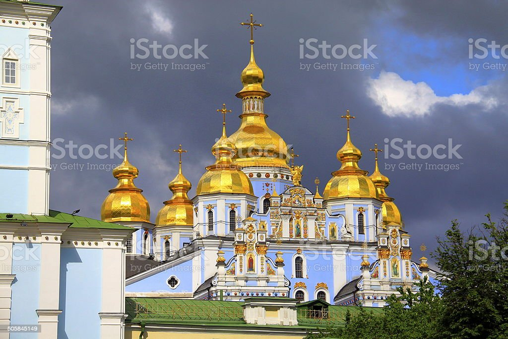 Saint Michael Cathedral at dramatic sky - Kyiv, Ukraine stock photo