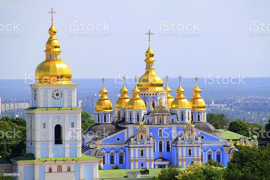 Saint Michael Cathedral golden domes - Kyiv, Ukraine stock photo
