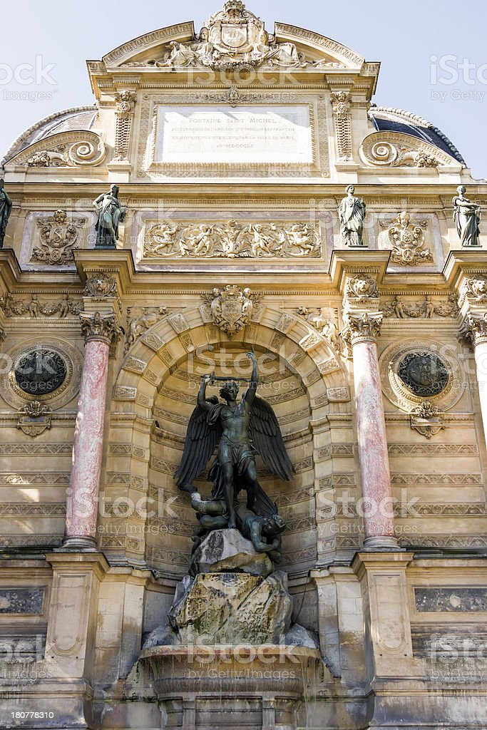 Saint Michael fountain , Paris, France royalty-free stock photo